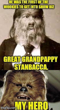 Know Your Past |  HE WAS THE FIRST OF THE WOOKIES TO GET INTO SHOW BIZ; GREAT GRANDPAPPY STANBACCA. MY HERO | image tagged in chewbacca | made w/ Imgflip meme maker