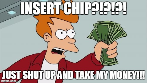 19imha chip readers at the checkout imgflip