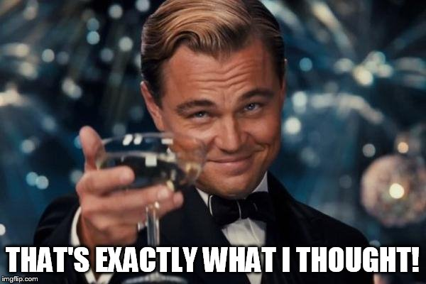 Leonardo Dicaprio Cheers Meme | THAT'S EXACTLY WHAT I THOUGHT! | image tagged in memes,leonardo dicaprio cheers | made w/ Imgflip meme maker