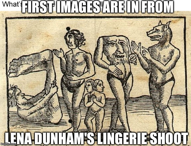 FIRST IMAGES ARE IN FROM LENA DUNHAM'S LINGERIE SHOOT | image tagged in lena dunham,girls | made w/ Imgflip meme maker