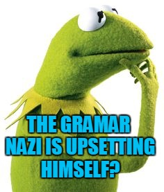 THE GRAMAR NAZI IS UPSETTING HIMSELF? | made w/ Imgflip meme maker