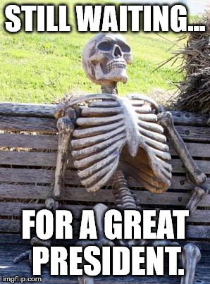 Probably won't happen | STILL WAITING... FOR A GREAT PRESIDENT. | image tagged in memes,waiting skeleton,aegis_runestone,president | made w/ Imgflip meme maker