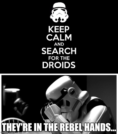 Look sir, droids! | THEY'RE IN THE REBEL HANDS... | image tagged in star wars,sad stormtrooper,star wars stormtrooper,keep calm | made w/ Imgflip meme maker