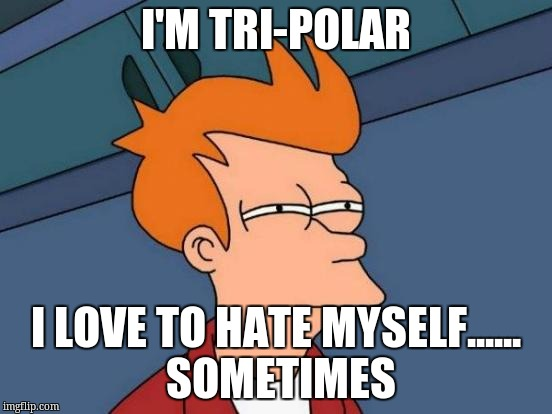 Futurama Fry Meme | I'M TRI-POLAR I LOVE TO HATE MYSELF...... SOMETIMES | image tagged in memes,futurama fry | made w/ Imgflip meme maker