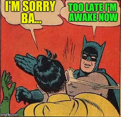 Batman Slapping Robin Meme | I'M SORRY BA... TOO LATE I'M AWAKE NOW | image tagged in memes,batman slapping robin | made w/ Imgflip meme maker