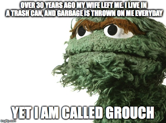 They call me Grouch | OVER 30 YEARS AGO MY WIFE LEFT ME. I LIVE IN A TRASH CAN, AND GARBAGE IS THROWN ON ME EVERYDAY YET I AM CALLED GROUCH | image tagged in sesame street,grouch,sadness,philosophy,trauma | made w/ Imgflip meme maker