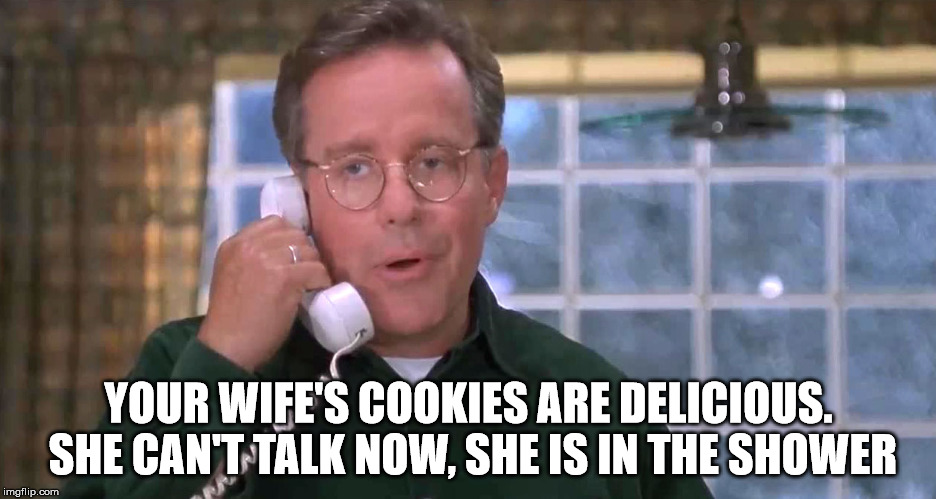 YOUR WIFE'S COOKIES ARE DELICIOUS. SHE CAN'T TALK NOW, SHE IS IN THE SHOWER | made w/ Imgflip meme maker