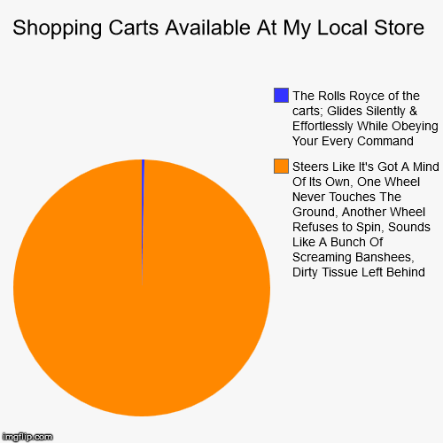 Oh, Excuse Me, Pardon Me | Shopping Carts Available At My Local Store | Steers Like It's Got A Mind Of Its Own, One Wheel Never Touches The Ground, Another Wheel Refus | image tagged in funny,pie charts | made w/ Imgflip pie chart maker