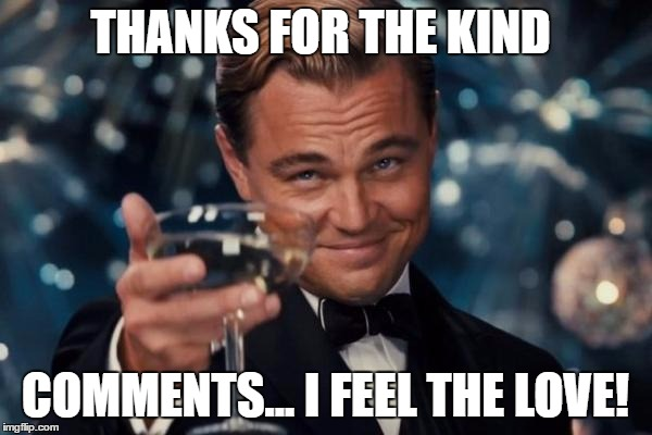Leonardo Dicaprio Cheers Meme | THANKS FOR THE KIND COMMENTS... I FEEL THE LOVE! | image tagged in memes,leonardo dicaprio cheers | made w/ Imgflip meme maker