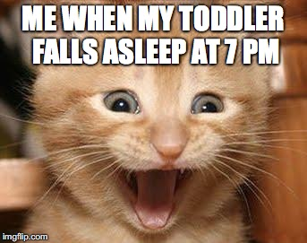 Excited Cat | ME WHEN MY TODDLER FALLS ASLEEP AT 7 PM | image tagged in memes,excited cat | made w/ Imgflip meme maker