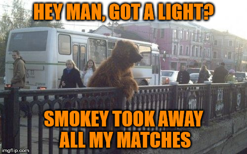 Only you can prevent forest fires | HEY MAN, GOT A LIGHT? SMOKEY TOOK AWAY ALL MY MATCHES | image tagged in memes,city bear,smokey the bear,psa from the 80s | made w/ Imgflip meme maker