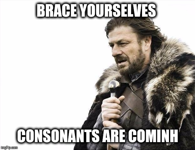Brace Yourselves X is Coming Meme | BRACE YOURSELVES CONSONANTS ARE COMINH | image tagged in memes,brace yourselves x is coming | made w/ Imgflip meme maker