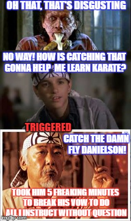 OH THAT, THAT'S DISGUSTING NO WAY! HOW IS CATCHING THAT GONNA HELP  ME LEARN KARATE? TOOK HIM 5 FREAKING MINUTES TO BREAK HIS VOW TO DO ALL  | made w/ Imgflip meme maker
