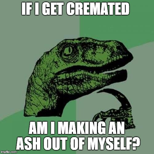 Philosoraptor Meme | IF I GET CREMATED AM I MAKING AN ASH OUT OF MYSELF? | image tagged in memes,philosoraptor | made w/ Imgflip meme maker