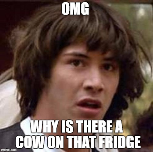 Conspiracy Keanu Meme |  OMG; WHY IS THERE A COW ON THAT FRIDGE | image tagged in memes,conspiracy keanu | made w/ Imgflip meme maker