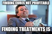 The problem with our healthcare system |  FINDING CURES NOT PROFITABLE; FINDING TREATMENTS IS | image tagged in healthcare,medicine,big pharma | made w/ Imgflip meme maker