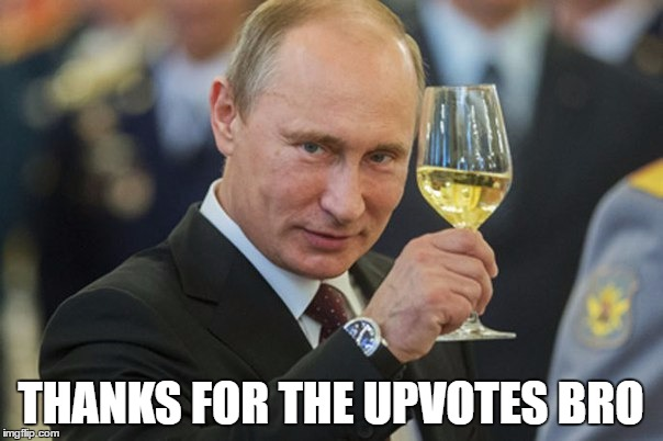 Putin Cheers | THANKS FOR THE UPVOTES BRO | image tagged in putin cheers | made w/ Imgflip meme maker