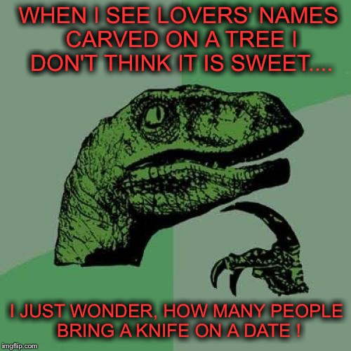 Philosoraptor Meme | WHEN I SEE LOVERS' NAMES CARVED ON A TREE I DON'T THINK IT IS SWEET.... I JUST WONDER, HOW MANY PEOPLE BRING A KNIFE ON A DATE ! | image tagged in memes,philosoraptor | made w/ Imgflip meme maker