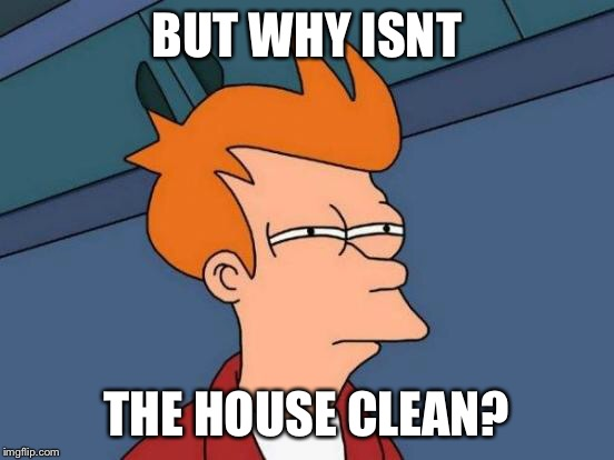 Futurama Fry Meme | BUT WHY ISNT THE HOUSE CLEAN? | image tagged in memes,futurama fry | made w/ Imgflip meme maker