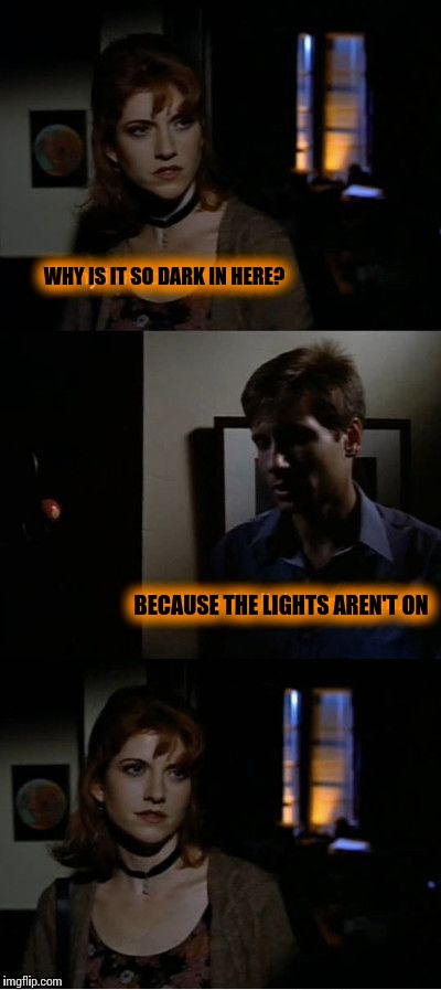 Epic sarcasm |  WHY IS IT SO DARK IN HERE? BECAUSE THE LIGHTS AREN'T ON | image tagged in memes,x-files | made w/ Imgflip meme maker