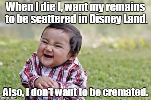Evil Toddler Meme | When I die I, want my remains to be scattered in Disney Land. Also, I don't want to be cremated. | image tagged in memes,evil toddler | made w/ Imgflip meme maker