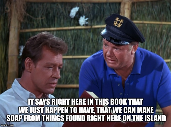 IT SAYS RIGHT HERE IN THIS BOOK THAT WE JUST HAPPEN TO HAVE, THAT WE CAN MAKE SOAP FROM THINGS FOUND RIGHT HERE ON THE ISLAND | made w/ Imgflip meme maker