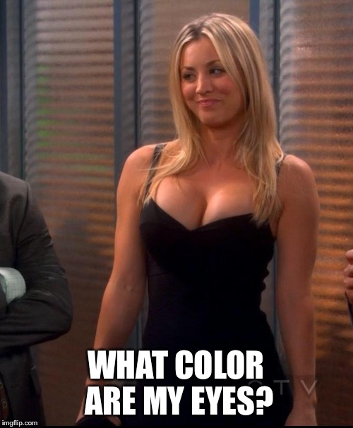 Penny - LBD | WHAT COLOR ARE MY EYES? | image tagged in penny - lbd | made w/ Imgflip meme maker