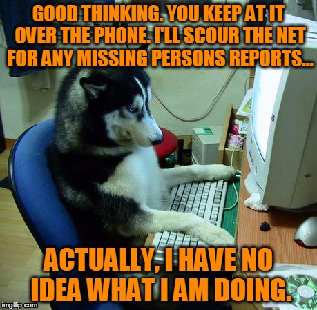 Investigative Research | GOOD THINKING. YOU KEEP AT IT OVER THE PHONE. I'LL SCOUR THE NET FOR ANY MISSING PERSONS REPORTS... ACTUALLY, I HAVE NO IDEA WHAT I AM DOING | image tagged in memes,computer dog,interwebs,investigate,research,internet | made w/ Imgflip meme maker