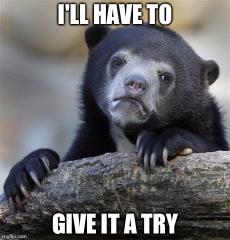 Confession Bear Meme | I'LL HAVE TO GIVE IT A TRY | image tagged in memes,confession bear | made w/ Imgflip meme maker