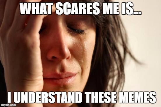 First World Problems Meme | WHAT SCARES ME IS... I UNDERSTAND THESE MEMES | image tagged in memes,first world problems | made w/ Imgflip meme maker