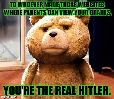 I do make good grades, but that's just evil! | TO WHOEVER MADE THOSE WEBSITES WHERE PARENTS CAN VIEW YOUR GRADES, YOU'RE THE REAL HITLER. | image tagged in memes,ted,template quest,funny | made w/ Imgflip meme maker