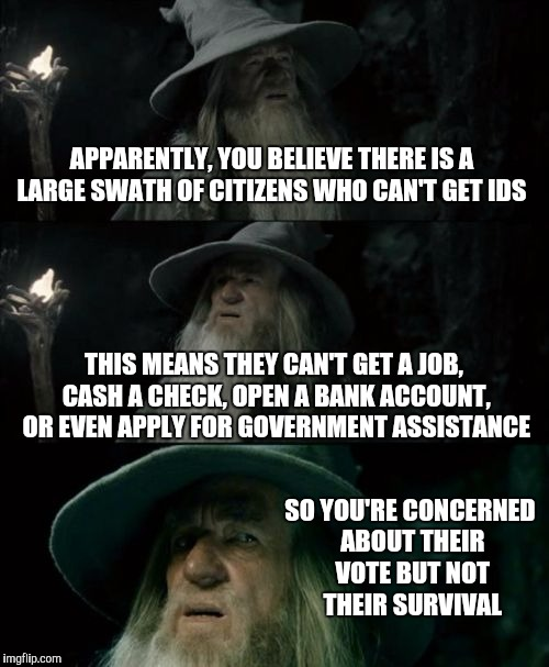 How come you never hear about the need for better access to IDs? | APPARENTLY, YOU BELIEVE THERE IS A LARGE SWATH OF CITIZENS WHO CAN'T GET IDS THIS MEANS THEY CAN'T GET A JOB, CASH A CHECK, OPEN A BANK ACCO | image tagged in memes,confused gandalf | made w/ Imgflip meme maker