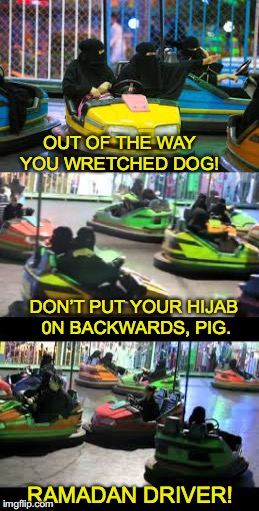Muslim Women Learn the Techniques and Language Of Driving | DON'T PUT YOUR HIJAB 0N BACKWARDS, PIG. OUT OF THE WAY YOU WRETCHED DOG! RAMADAN DRIVER! | image tagged in muslim,driving,bump | made w/ Imgflip meme maker