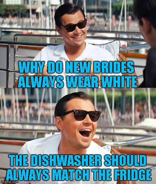 This joke is older than me, but I still love it...LOL | WHY DO NEW BRIDES ALWAYS WEAR WHITE THE DISHWASHER SHOULD ALWAYS MATCH THE FRIDGE | image tagged in memes,leonardo dicaprio wolf of wall street | made w/ Imgflip meme maker