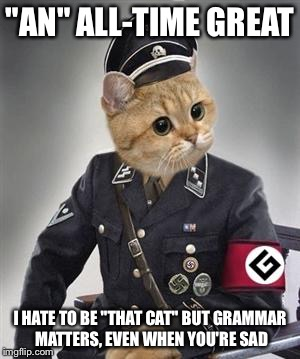 """AN"" ALL-TIME GREAT I HATE TO BE ""THAT CAT"" BUT GRAMMAR MATTERS, EVEN WHEN YOU'RE SAD 