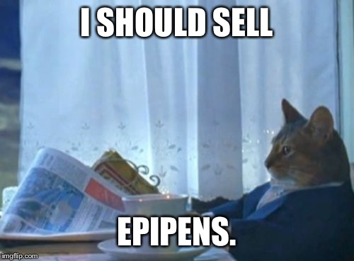 Over 400% profit? Nice! | I SHOULD SELL EPIPENS. | image tagged in memes,i should buy a boat cat | made w/ Imgflip meme maker