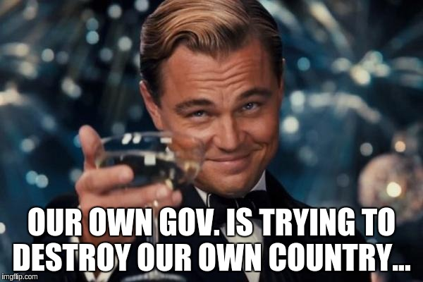 Leonardo Dicaprio Cheers Meme | OUR OWN GOV. IS TRYING TO DESTROY OUR OWN COUNTRY... | image tagged in memes,leonardo dicaprio cheers | made w/ Imgflip meme maker