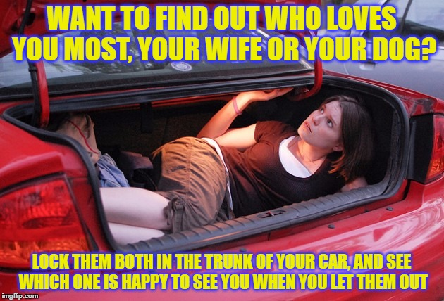 WANT TO FIND OUT WHO LOVES YOU MOST, YOUR WIFE OR YOUR DOG? LOCK THEM BOTH IN THE TRUNK OF YOUR CAR, AND SEE WHICH ONE IS HAPPY TO SEE YOU W | image tagged in wife,dog | made w/ Imgflip meme maker