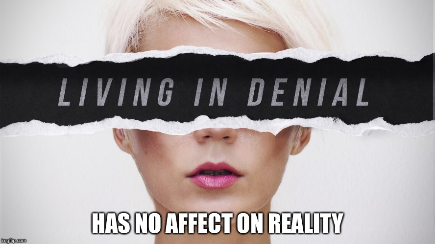 Living in Denial has no affect on Reality |  HAS NO AFFECT ON REALITY | image tagged in denial,reality | made w/ Imgflip meme maker
