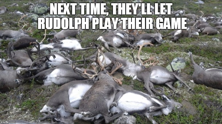 Reindeer killed by lightning | NEXT TIME, THEY'LL LET RUDOLPH PLAY THEIR GAME | image tagged in reindeer killed by lightning | made w/ Imgflip meme maker