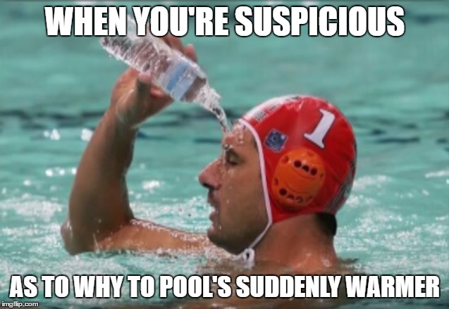Pool Water | WHEN YOU'RE SUSPICIOUS AS TO WHY TO POOL'S SUDDENLY WARMER | image tagged in swimming pool,bottled water,why god why | made w/ Imgflip meme maker