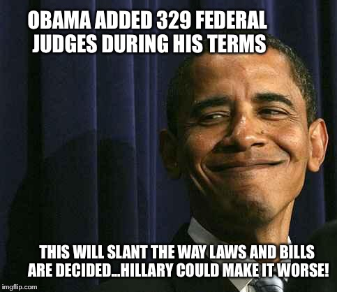 obama smug face |  OBAMA ADDED 329 FEDERAL JUDGES DURING HIS TERMS; THIS WILL SLANT THE WAY LAWS AND BILLS ARE DECIDED...HILLARY COULD MAKE IT WORSE! | image tagged in obama smug face | made w/ Imgflip meme maker