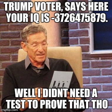 Maury Lie Detector Meme | TRUMP VOTER, SAYS HERE YOUR IQ IS -3726475879. WELL I DIDNT NEED A TEST TO PROVE THAT THO | image tagged in memes,maury lie detector | made w/ Imgflip meme maker