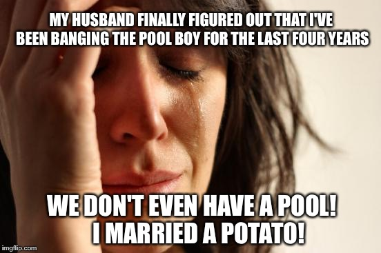 Yeah! Right!.. He's a Freakin Einstein! |  MY HUSBAND FINALLY FIGURED OUT THAT I'VE BEEN BANGING THE POOL BOY FOR THE LAST FOUR YEARS; WE DON'T EVEN HAVE A POOL!   I MARRIED A POTATO! | image tagged in memes,first world problems | made w/ Imgflip meme maker