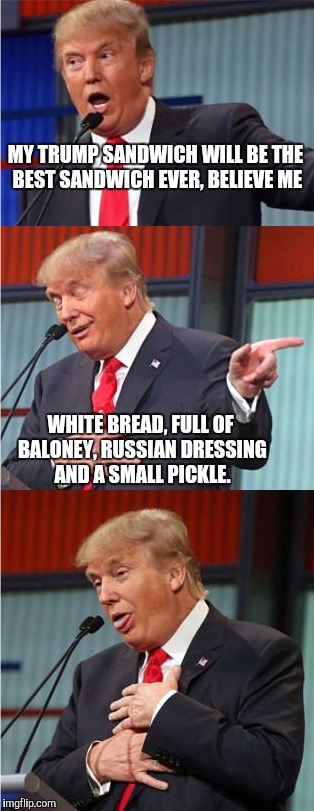 Bad Pun Trump | MY TRUMP SANDWICH WILL BE THE BEST SANDWICH EVER, BELIEVE ME WHITE BREAD, FULL OF BALONEY, RUSSIAN DRESSING AND A SMALL PICKLE. | image tagged in bad pun trump | made w/ Imgflip meme maker
