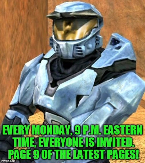 Church RvB Season 1 | EVERY MONDAY, 9 P.M. EASTERN TIME, EVERYONE IS INVITED. PAGE 9 OF THE LATEST PAGES! | image tagged in church rvb season 1 | made w/ Imgflip meme maker