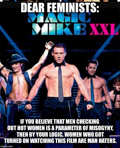 Magic Mike | DEAR FEMINISTS: IF YOU BELIEVE THAT MEN CHECKING OUT HOT WOMEN IS A PARAMETER OF MISOGYNY, THEN BY YOUR LOGIC, WOMEN WHO GOT TURNED ON WATCH | image tagged in magic mike | made w/ Imgflip meme maker