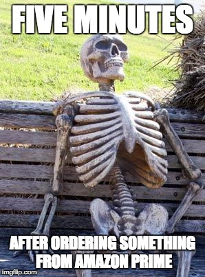 Waiting Skeleton | FIVE MINUTES AFTER ORDERING SOMETHING FROM AMAZON PRIME | image tagged in memes,waiting skeleton,amazon,amazon prime | made w/ Imgflip meme maker