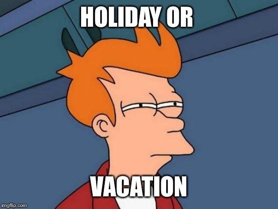 Futurama Fry Meme | HOLIDAY OR VACATION | image tagged in memes,futurama fry | made w/ Imgflip meme maker