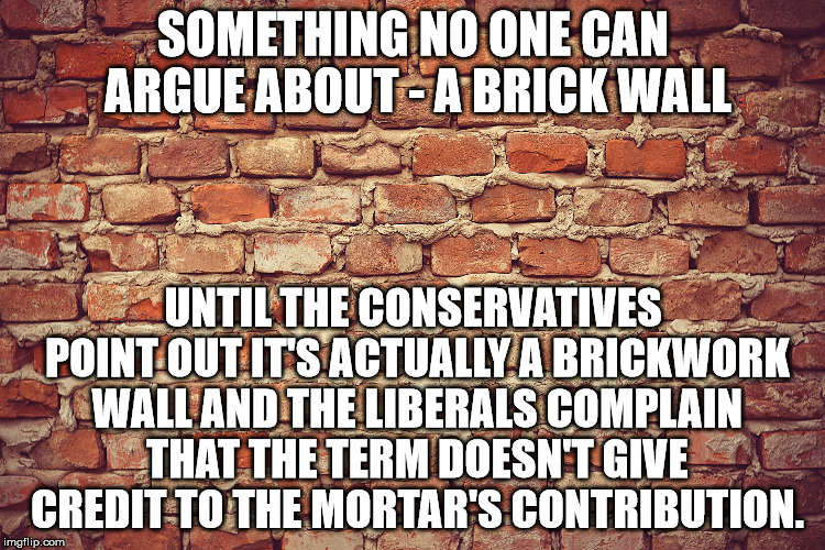 A brick wall |  SOMETHING NO ONE CAN ARGUE ABOUT - A BRICK WALL; UNTIL THE CONSERVATIVES POINT OUT IT'S ACTUALLY A BRICKWORK WALL AND THE LIBERALS COMPLAIN THAT THE TERM DOESN'T GIVE CREDIT TO THE MORTAR'S CONTRIBUTION. | image tagged in argument,brick,conservative,liberal | made w/ Imgflip meme maker